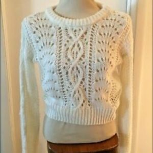 Moon & Madison open crochet knit crop sweater